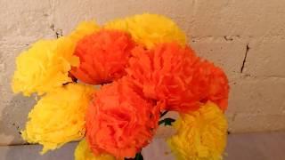Como hacer flores de Cempasuchil