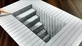3d Hole Steps - Art Optical Illusion || 3D HOLE OF STEPS || RK SKETCHERS ||