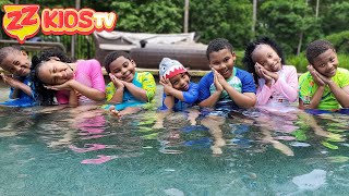 ZZ Kids TV Jumping Through Impossible Shapes Into Swimming Pool!