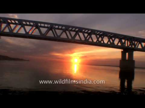 Crossing Brahmaputra river from Assam into Arunachal from Dibrugarh side: sunset journey