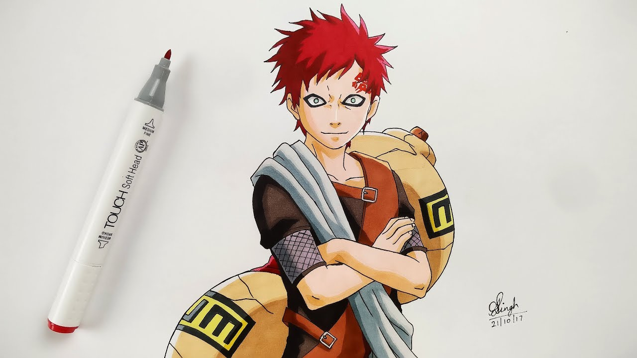 How to Draw Gaara - Step By Step (Tutorial) - Naruto - YouTube