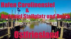 Hafen Carolinensiel und Harlesiel, Wohnmobil-Stellplatz u. Campingplatz Harlesiel, Ostfriesland