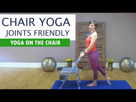 chair yoga  exercise for bad knees hips home stretching