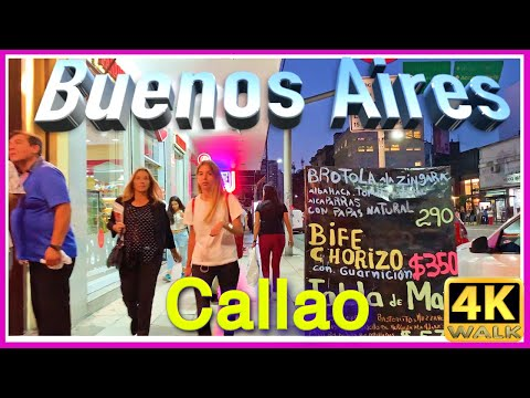 【4K】WALK  Buenos Aires 2019 Callao to Recoleta VIRTUAL WALK at night