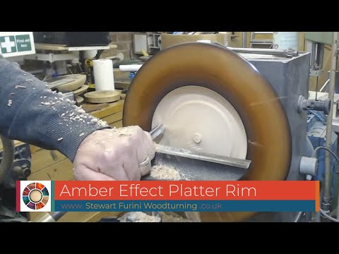 Woodturning an Amber Effect Rimmed Platter