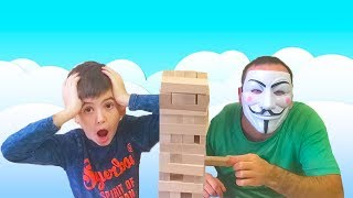 Сool kid Plays jenga Learn colors with If your happy Song funny BOY Funny Baby Prank!