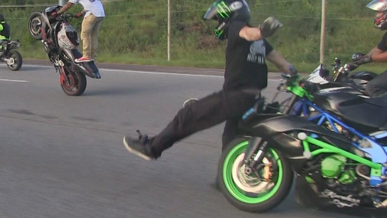 Motorcycle Crashes Highway Wheelie Gone Bad Street Bike Stunts
