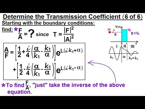Physics - Ch 66 Ch 4 Quantum Mechanics: Schrodinger Eqn (88 of 92) Transmission Coeff=? (6 of 6)