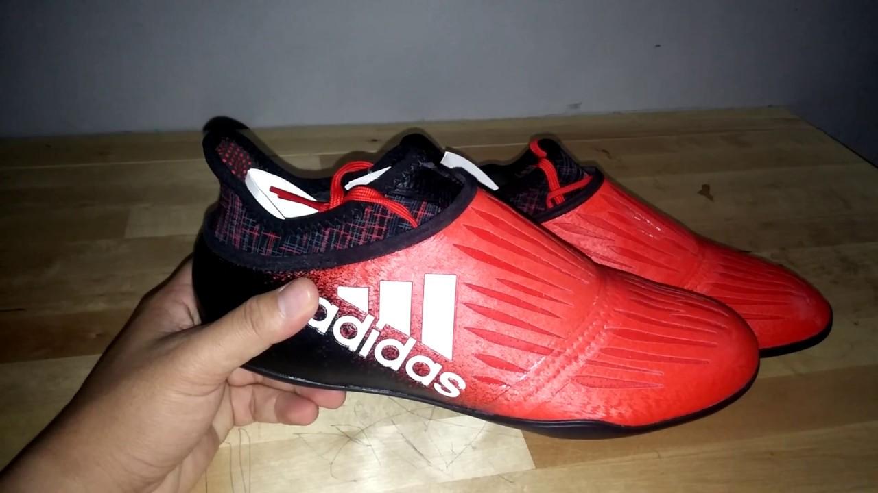 Review Sepatu Futsal Adidas X Tango 16+ Purechaos - YouTube 84a6049dd0