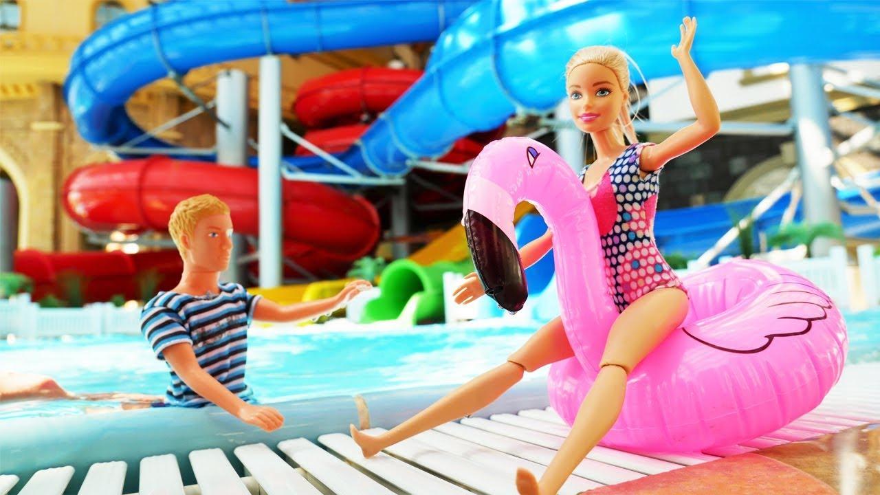 Барби и Кен отдыхают в Аквапарке - Видео для девочек - YouTube