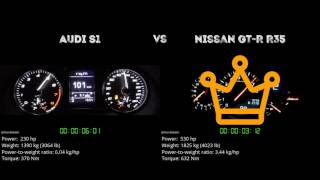 Audi S1 vs. Nissan GT-R R35 - the 0-100 km/h duel. Which one is fas...