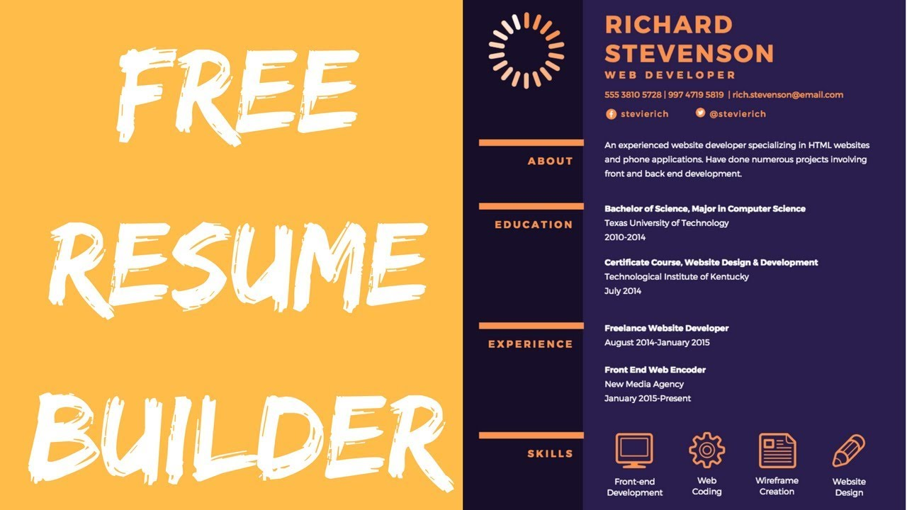 Free Online Resume Builder On Canva For Software Developers Youtube