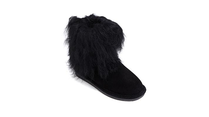 650c39fc1df BEARPAW Boo Suede and Curly Lamb Fur Bootie