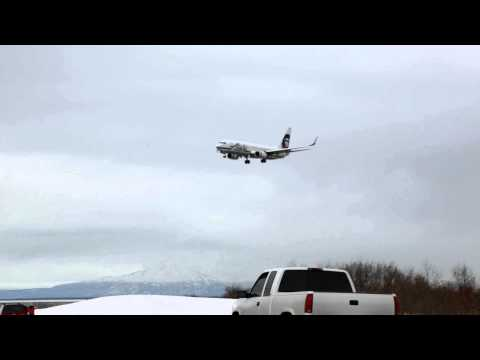 Alaska Airlines Boeing 737 landing Anchorage, Anchorage Ted Stevens Airport, Alaska