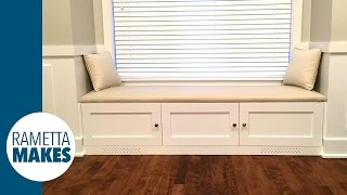 Build a window/reading bench with storage, and learn to upholster a leather seat. Using 1 sheet of plywood, I built a window bench