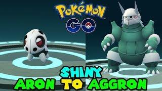 Evolving SHINY ARON to SHINY AGGRON - Pokemon GO SHINY POKEMON
