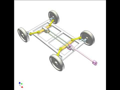 Mechanism for steering a 4-wheel trailer with small turning radius 4