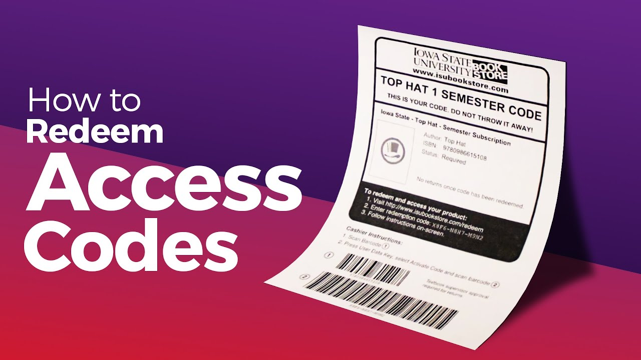 How to Redeem Access Codes Purchased at the ISU Book Store