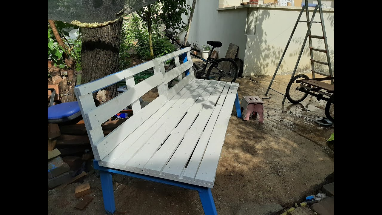 Hurda Pofil Demir ve Paletten Bank Yapımı   How to make a garden bench out  of used metal and wood