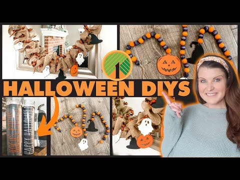 DIY Farmhouse Halloween Garland, Farmhouse Beads & Dollar Tree Rae Dunn Inspired Candles