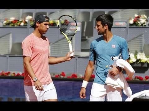 Novak Djokovic Meets Rafael Nadal on Practice - Madrid 2017 (HD)