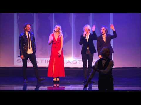 Riker Lynch does a tap routine as his band R5 cheers him on, at the World Choreography Awards 2015