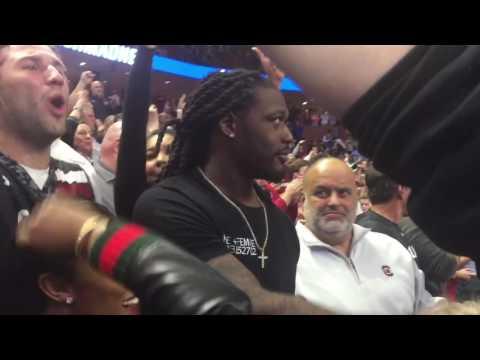 Jadeveon Clowney celebrates NCAA Tourney win