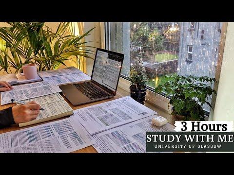 3 HOUR STUDY WITH ME | Background noise, Rain Sounds, 10-min break, No Music