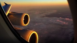 Singapore Airlines Airbus A380 - amazing night take off, sunrise and scenery upon landing