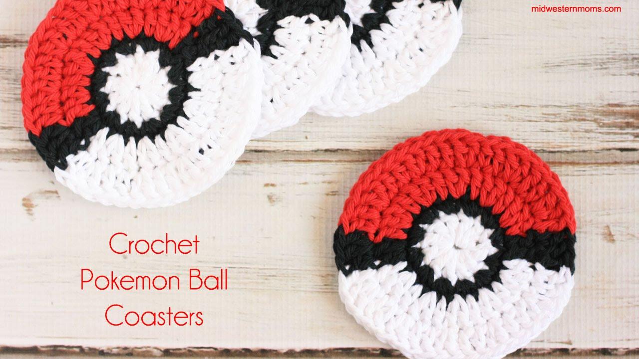 How to Crochet Pokemon Ball Coasters - YouTube