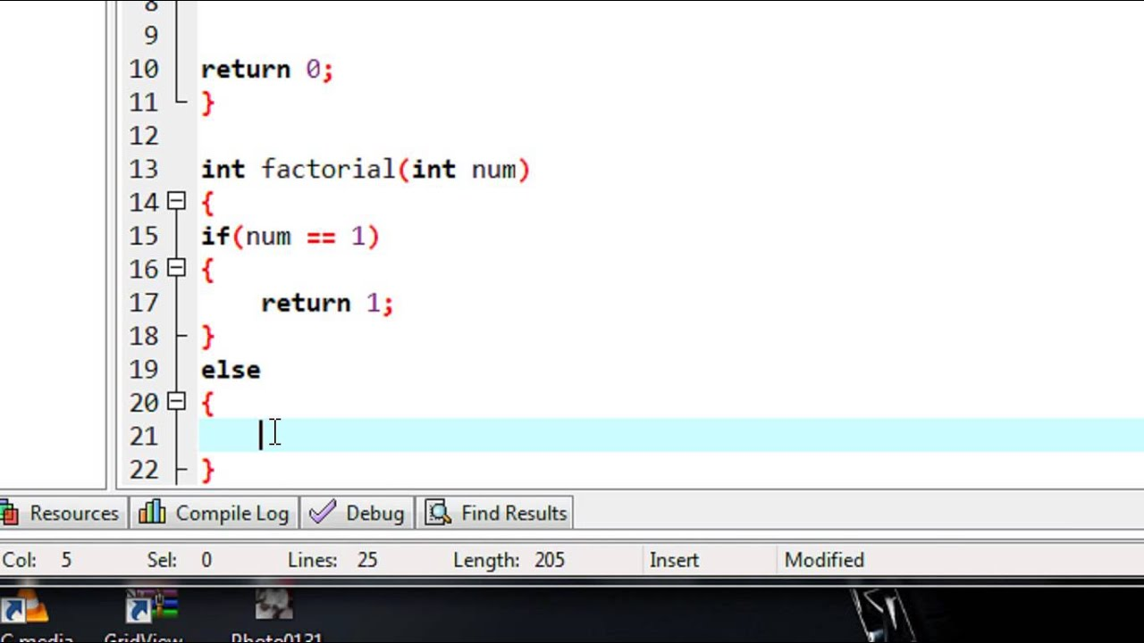 C Programming - 35 - Factorial of a number using recurs ...