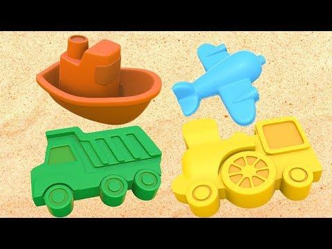 Um caminhão de areia. Aprenda cores com objetos de areia.