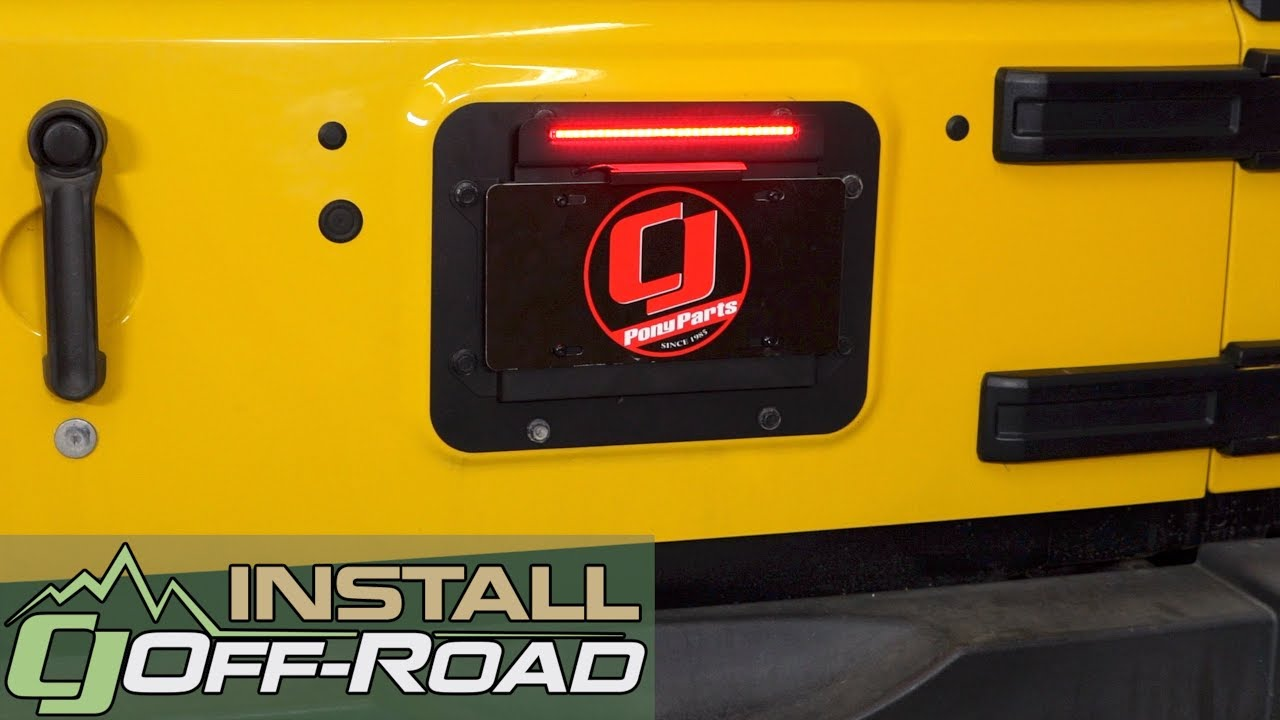 jeep wrangler kentrol license plate bracket backside with led lights 2007 2009 installation [ 1280 x 720 Pixel ]