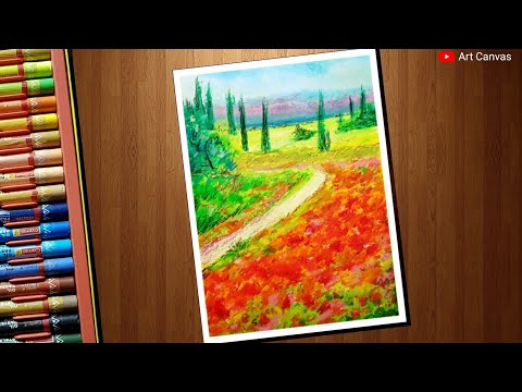 Poppy Field Landscape Scenery With Oil Pastel Step by Step For Beginners
