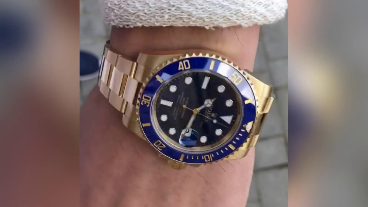 Rolex Submariner Date 116618lb Blue Dial 40 Mm Yellow Gold Wrist Shot By Officialwatches