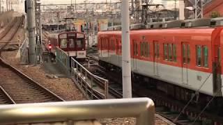 ◆車庫に入る 2両編成 快速急行 奈良行き??? 阪神電車 尼崎駅◆