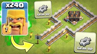 ALL BARBERIAN ARMY vs GEARED UP CANNON!! CLASH OF CLANS