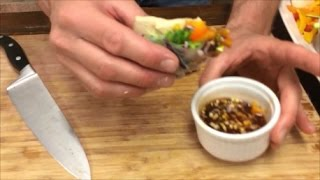 """""""vietnamese Street Food""""  Marinated Tofu & Vegetables In Rice Paper With Dipping Sauce"""