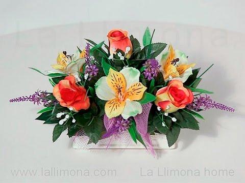 Arreglos florales jardinera cer mica alstroemerias y - Arreglos de flores artificiales ...