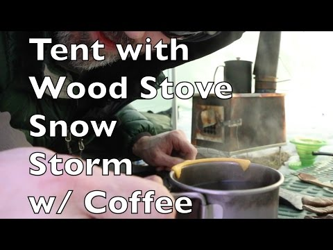 Hot Tent Wood Stove Bushcraft Overnight winter survival Backpacking A