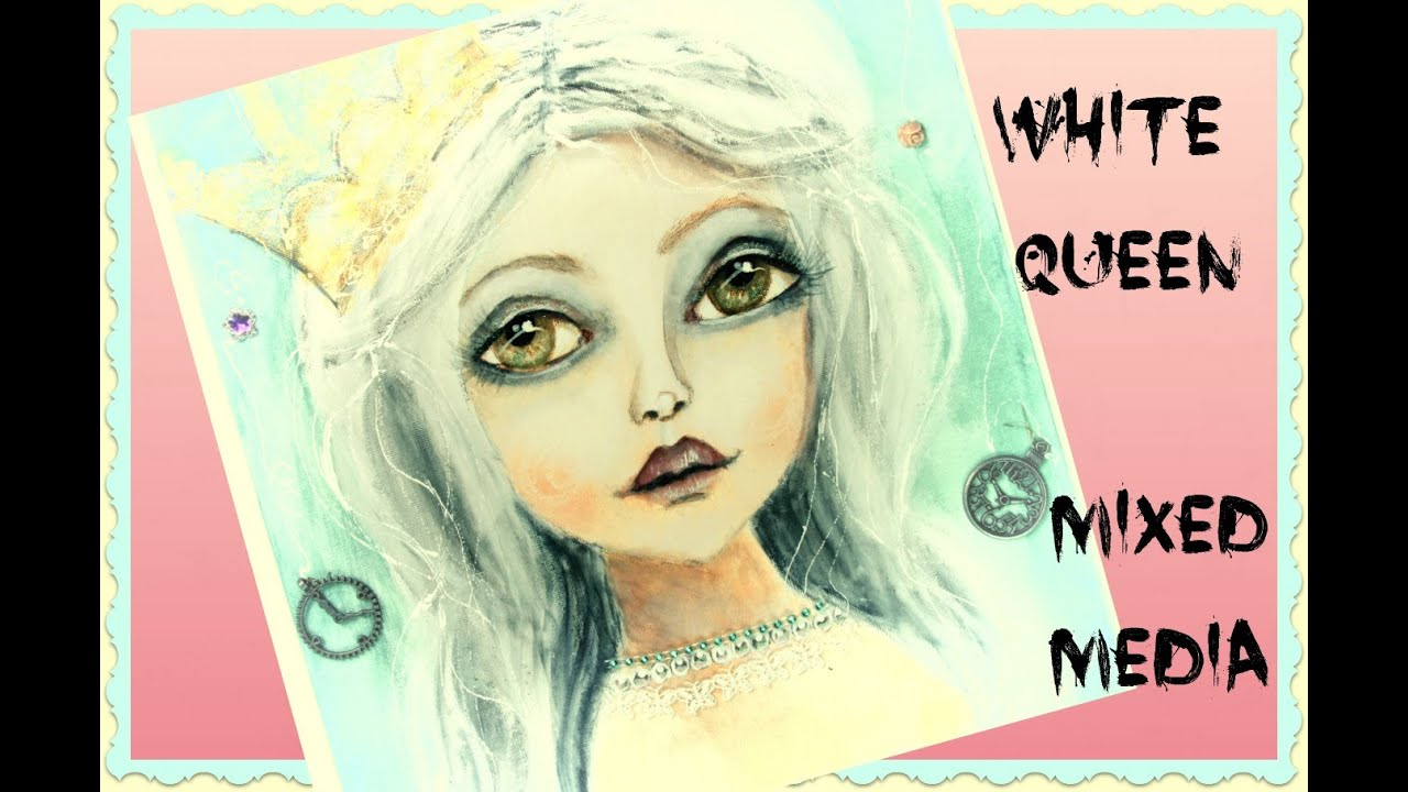 Mixed Media Art White Queen Through The Looking Glass Art Crawl