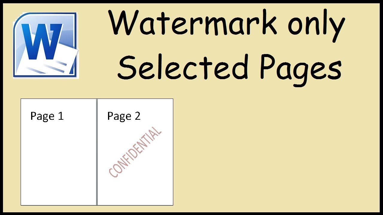 How To Watermark One Page Only In Microsoft Word