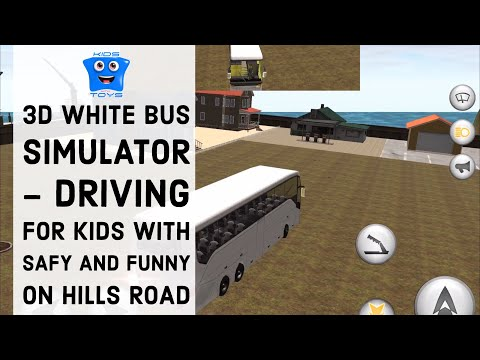 3D White Bus Simulator - Driving for kids with safety  and funny on hills road with fireworks attack