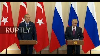 From youtube.com: Live: Putin and Erdogan deliver press statements in Sochi Subscribe to our channel! rupt.ly/subscribe Russian President Vladimir Putin and Turkish President Recep Tayyip Erdogan deliver a joint press statement