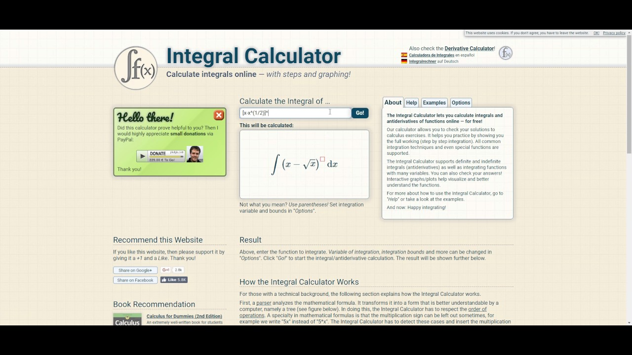 Calcolatore integrali online