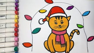 How To Draw A Cat For Christmas Night || Draw For Kids