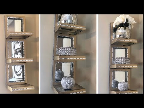Dollar Tree DIY || 💕Easy & Inexpensive Gold Mirrored Wall Shelf💕