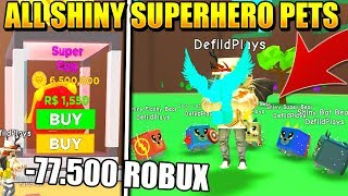 ALL SHINY SUPERHERO PETS IN MAGNET SIMULATOR!! Roblox *SUPER OP*