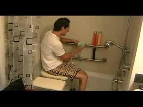 Paraplegic shower transfer - YouTube