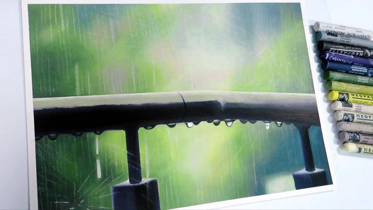 오일파스텔로 비오는 풍경 그리기, Drawing Rainy Scenery with Oil Pastel